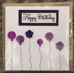 Happy Birthday Purple with Balloon Buttons